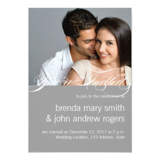 Grey White Simple Modern Photo Wedding Invitation