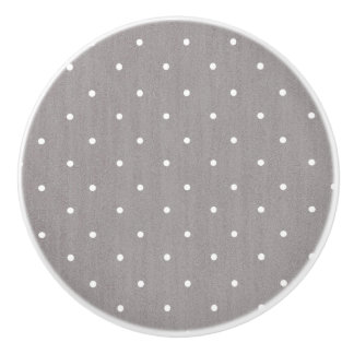 Grey & White Small Polka Dots Modern Chic Ceramic Knob
