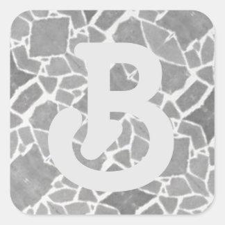Grey White Stone Tiles Mosaic Custom Monogram B Square Sticker