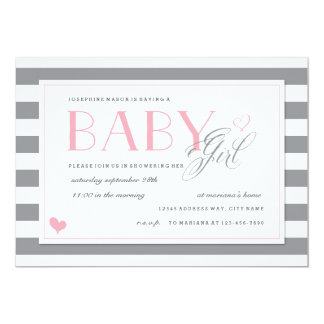 Grey & White Stripe Baby Shower Light Pink Accents Card
