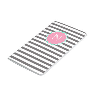Grey & white stripes, Monogram Pocket Journal