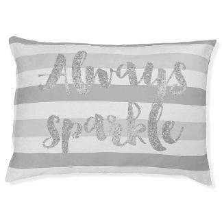 Grey White Stripes Sparkle Large Dog Bed