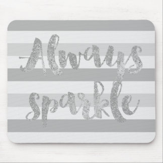 Grey White Stripes Sparkle Mouse Pad