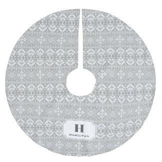 Grey & White Sweater Pattern Monogram Brushed Polyester Tree Skirt