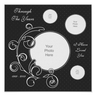 Grey & White Swirls Scrapbook Page Poster