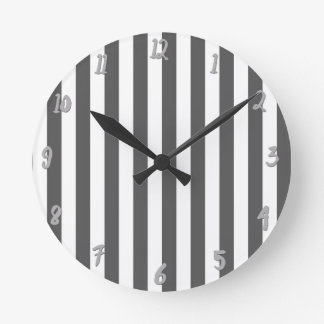 Grey & White Vertical Stripes Chic Personalized Round Clock