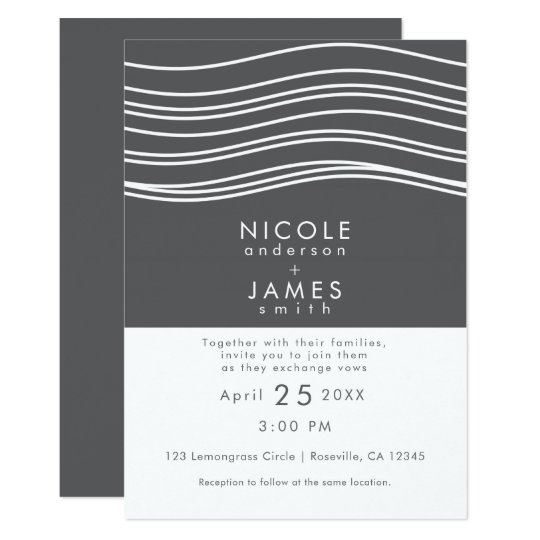 Grey & White Wave Modern Chic Wedding Card