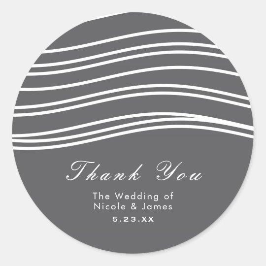Grey & White Wave Modern Chic Wedding Classic Round Sticker