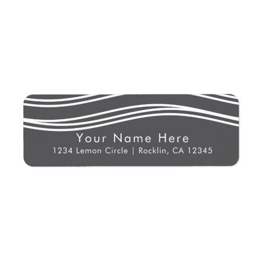Grey & White Wave Modern Chic Wedding Return Address Label