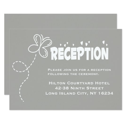 Grey & White Wedding Reception Hearts & Butterfly Card