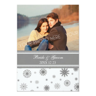 Grey White Winter Wedding Photo Invitation Cards