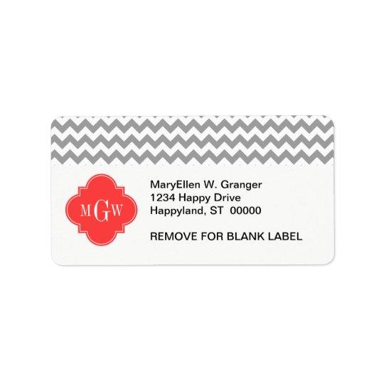 Grey Wht Chevron Coral Red Quatrefoil 3 Monogram Label