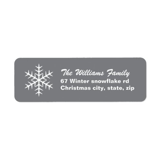 Grey winter snowflake family Christmas Holiday Return Address Label