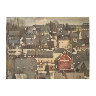 Grey Winter Village and One Red House Digital Oil Wood Wall Art