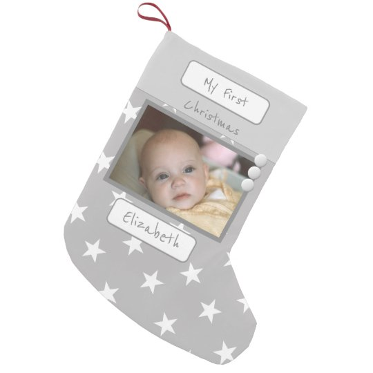 Grey with stars My First Christmas photo Small Christmas Stocking