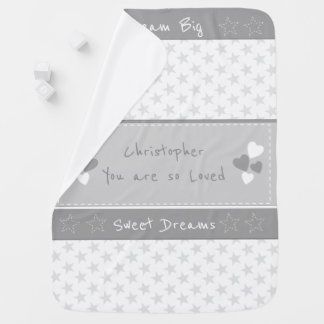 Grey with stars Personalized Dream big Baby Blankets