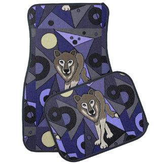 Grey Wolf and Moon Art Abstract Car Mat