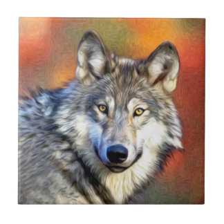 Grey Wolf Art Painting Tile