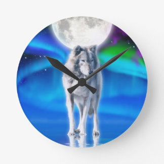 Grey Wolf & Aurora Moon Wildlife Art Clock