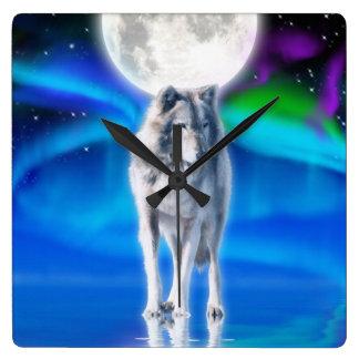 Grey Wolf & Aurora Moon Wildlife Art Clock