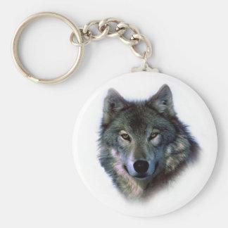 Grey Wolf Eyes Basic Round Button Keychain
