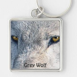 GREY WOLF EYES Wildlife Art Key-chain Silver-Colored Square Keychain