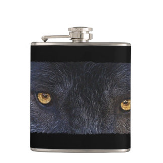 Grey Wolf Eyes - Wildlife-lovers Art Hip Flask