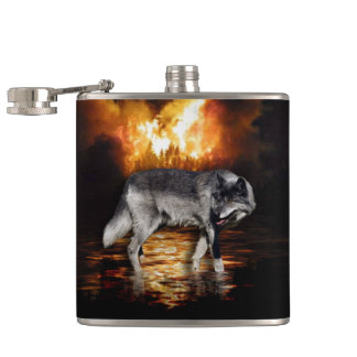 Grey Wolf Fire Flames Survivor Hip Flask
