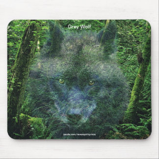 Grey Wolf & Forest Wildlife-supporter Animal Art Mouse Pad