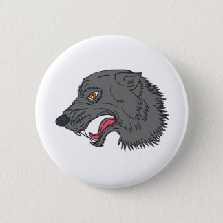 Grey Wolf Head Growling Drawing 2 Inch Round Button