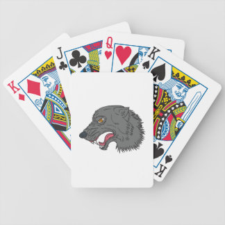 Grey Wolf Head Growling Drawing Bicycle Playing Cards