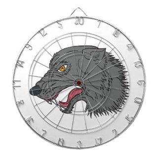 Grey Wolf Head Growling Drawing Dart Boards