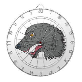 Grey Wolf Head Growling Drawing Dartboard