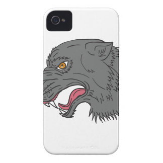 Grey Wolf Head Growling Drawing iPhone 4 Case-Mate Case