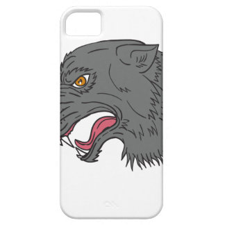 Grey Wolf Head Growling Drawing iPhone 5 Cover