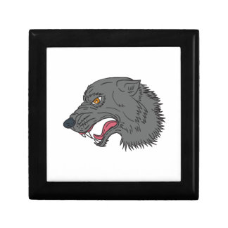 Grey Wolf Head Growling Drawing Jewelry Boxes