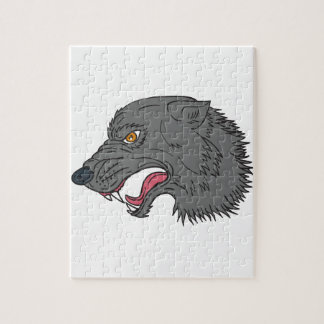 Grey Wolf Head Growling Drawing Jigsaw Puzzle