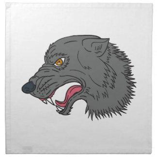 Grey Wolf Head Growling Drawing Napkin