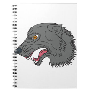 Grey Wolf Head Growling Drawing Notebooks