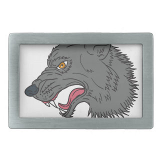 Grey Wolf Head Growling Drawing Rectangular Belt Buckle