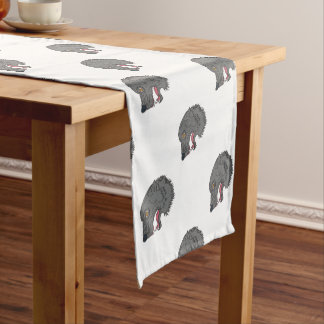 Grey Wolf Head Growling Drawing Short Table Runner