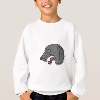 Grey Wolf Head Growling Drawing Sweatshirt