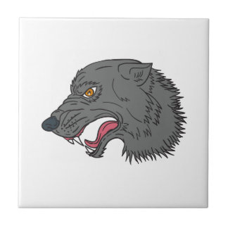 Grey Wolf Head Growling Drawing Tile