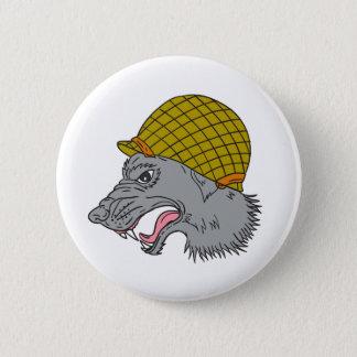 Grey Wolf Head Growling WW2 Helmet Drawing 2 Inch Round Button