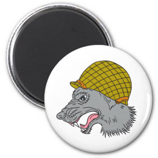 Grey Wolf Head Growling WW2 Helmet Drawing 2 Inch Round Magnet