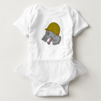 Grey Wolf Head Growling WW2 Helmet Drawing Baby Bodysuit