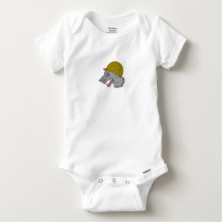 Grey Wolf Head Growling WW2 Helmet Drawing Baby Onesie