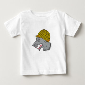 Grey Wolf Head Growling WW2 Helmet Drawing Baby T-Shirt