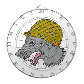 Grey Wolf Head Growling WW2 Helmet Drawing Dartboard