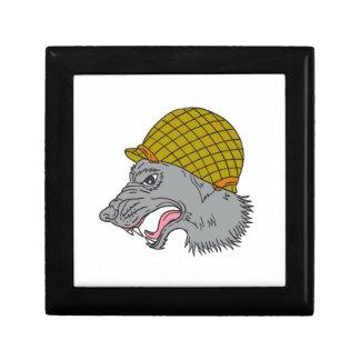 Grey Wolf Head Growling WW2 Helmet Drawing Gift Box